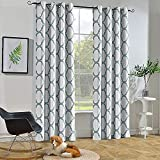 Melodieux Moroccan Fashion Thermal Insulated Grommet Room Darkening Curtains for Living Room, 52 by 84 Inch, Off White/Dusty Blue (1 Panel)