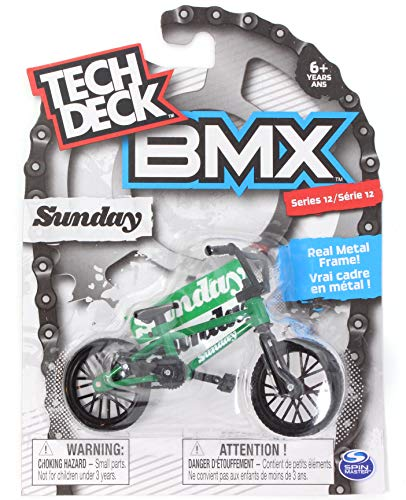 TECH DECK BMX Finger Bike Series 12, Sunday - Replica Bike with Real Metal Frame, Graphics, and Moveable Parts for Flick Tricks, Flares, Grinds, and Finger Bike Games - Green