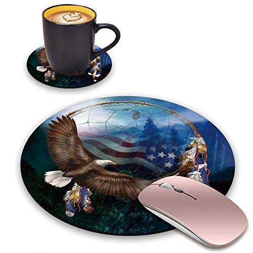 BWOOLL Round Mouse Pad and Coasters Set, Dream Catcher & American Flag Bald Eagle Design Mouse Pad, Non-Slip Rubber Base Mouse Pads for Laptop and Computer