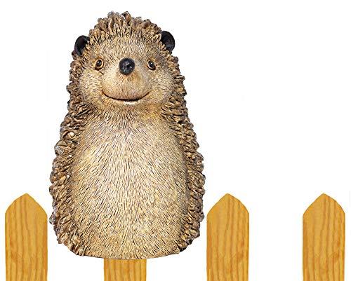 Zaunfigur Igel Zaunhocker Zaundeko Vorgarten Zaun Haus Garten Herbst Deko stabil braun wetterfest Eisen Frühling Tierfigur Geschenk Gartenliebhaber Kunststein Polyresin Dekoration H=16 cm (Motiv Igel)