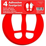 Marcatori adesivo da pavimento, impronta | Separatori di clienti per negozi | 4 unità di 19 cm (Rosso)