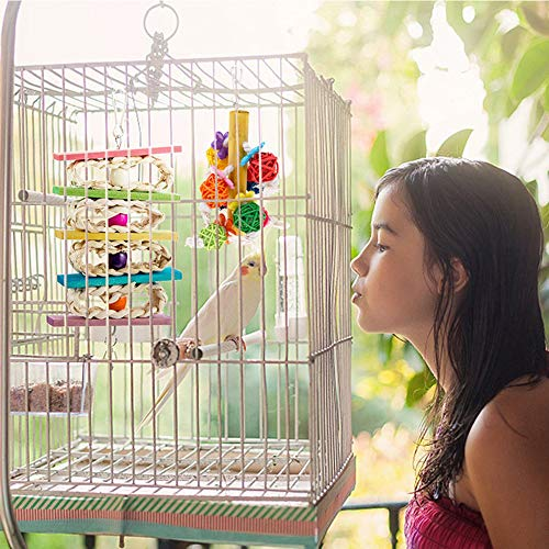 kathson 2 Pack Bird Chewing Toys, Parrot Hanging Colorful Rattan Ball Toy, Wooden Block Cage Bite Toys Suitable for Small Pet Birds Like Parakeet, Conure, Lovebirds, Cockatiels