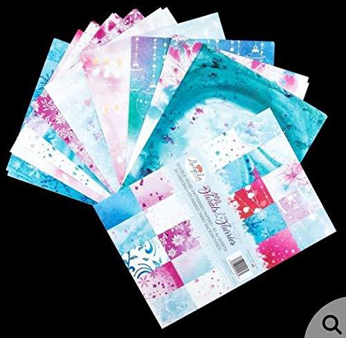 Angela Poole Florals & Flurries Card Pack, Papier, Inky-achtergronden, A4