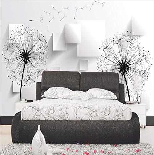 Cczxfcc Fotobehang 3D paardenbloem behang wandschilderij zwart en wit minimalistisch modern minimalistisch woonkamer 3D wallpaper 200 x 140 cm.