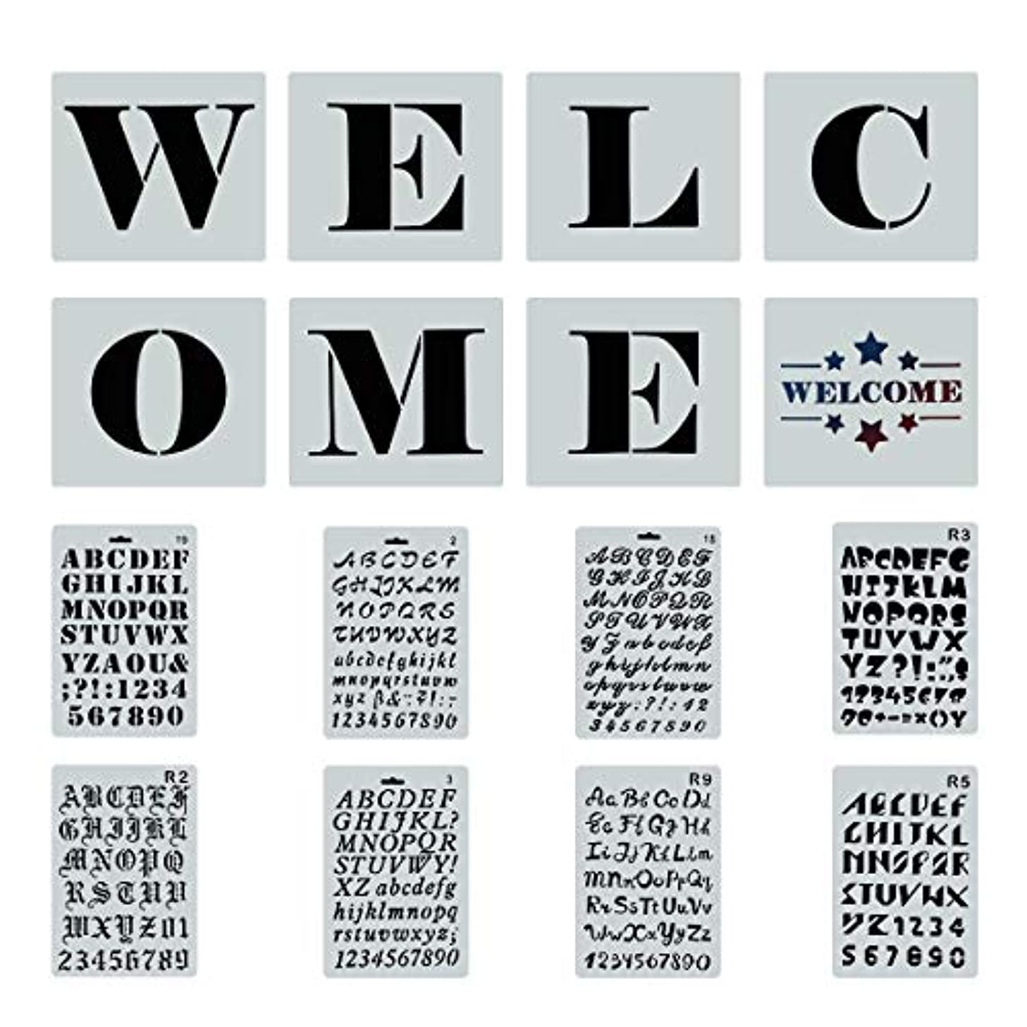 Reusable Welcome Sign Stencils for Painting on Wood, 8 PCS Large Individual Templates + 8 PCs Letters Stencils with Numbers and Signs for Hotel Home Porch Sign Decorations