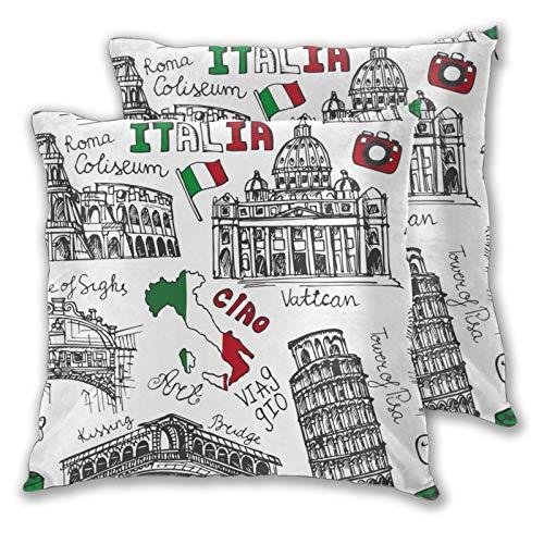 Fodera per cuscino con stampa 3D,Italia Landmark Vintage Doodle Colosseo italiano Vaticano ponti di Venezia Torre,Moderna federa per divano divano letto auto set decorazioni per la casa 20'x 20' 2pz