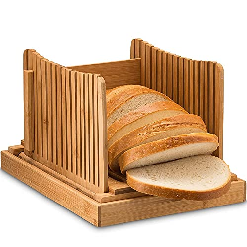 Bamboo Bread Slicer with Bread Crumb Tray Bamboo Wood Foldable Storage Slice Thickness can be Controlled 3 Thickness Size for Homemade Bread Cakes Bagelsr