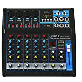 Pyle Professional Audio Mixer Sound Board Console - Desk System Interface with 6 Channel, USB, Bluetooth, Digital MP3 Computer Input, 48V Phantom Power, FX16 Bit DSP- PMXU63BT