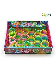 ZoneYan 24 Piezas Resorte Arco Iris, Rainbow Espiral de Juguete, Rainbow Spring, Juguetes Rainbow Spring, Resortes Juguete, Rellenos de Bolsas de Fiesta, Favores de Fiesta