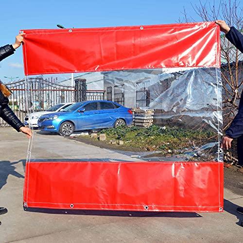 Lona Alquitranada Cortina de Vinilo Al Aire Libre con Panel de Lona Transparente, Panel de Paredes Laterales de PVC Transparente para Toldo de Tienda Al Aire Libre, Enrollar La Ventana de La Puerta Pa
