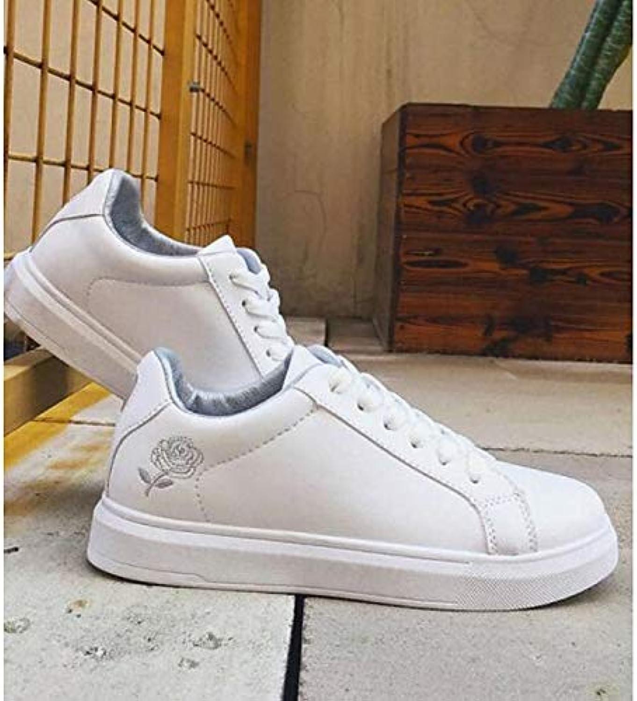 Women's Comfort shoes PU(Polyurethane) Spring & Fall Sneakers Flat Heel Pink White   Black White   White Silver