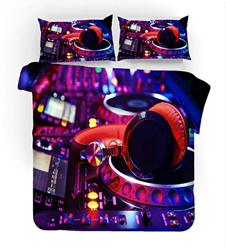 Earendel Music DJ Duvet Cover Set Rock Bedding Heavy Metal Dynamic Sets 2/3/4PCS Quilt Covers/Sheets/Pillowcases,Twin/Full/Queen/King Size (Single-140×210cm-3PCS,2)