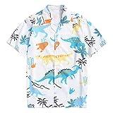 Camisa de manga corta para hombre, estilo hawaiano, para hombre, con estampado de dinosaurios, con estampado de animales, con solapas, para tiempo libre, con botones Blanco L