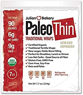 Julian Bakery Paleo Thin Wraps | USDA Organic | Gluten-Free | Grain-Free | Low Carb | 6 Net Carbs | 7 Individual Wraps