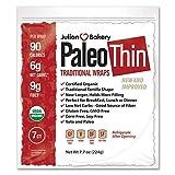 Julian Bakery Paleo Thin Wraps | USDA Organic | Gluten-Free | Grain-Free | Low Carb | 6 Net Carbs | 7 Individual Wraps