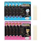 Jeanoko Scratch Paper Scratch Art Book Set 10pcs Rainbow Scratch Art Notebooks Artesanía con 10 lápices de Madera para niñas y niños Dibujo de Bricolaje