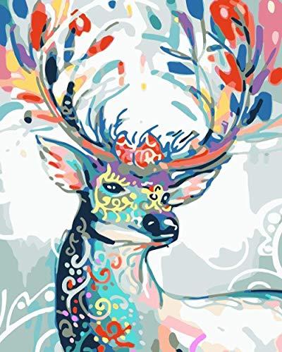 Zaosan Pintura acrílica para niños y Adultos DIY para Pinturas preimpresas por númerosPaint by Number- (40X50Cm) para niños Principiantes Lienzo de Lino Digital Creativo -LW-155-Nine Color Deer