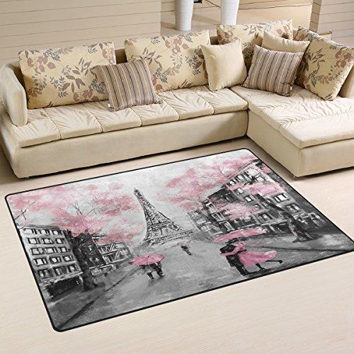 WOZO Art Paris Eiffel Tower Watercolor Area Rug Rugs Non-Slip Floor Mat Doormats Living Dining Room Bedroom Dorm 60 x 39 inches inches Home Decor