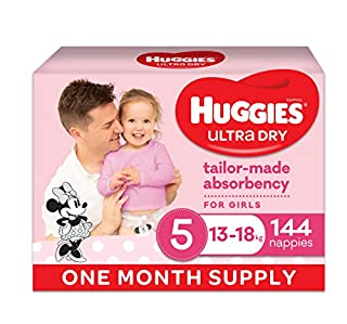 Huggies Ultra Dry Nappies Girl Size 5 (13-18kg) 1 Month Supply 144 Count (B076CHSXF2) | Amazon price tracker / tracking, Amazon price history charts, Amazon price watches, Amazon price drop alerts