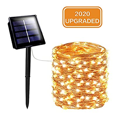 SANJICHA Solar String Lights Outdoor, Upgraded Brighter 200 LED Solar Lights Outdoor, Waterproof 8 Modes Fairy Lights for Party Decorations Wedding Garden Patio Yard Home Decor (Warm White)