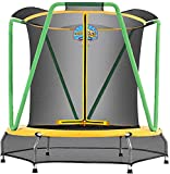 Zupapa Trampoline for Kids with Enclosure Net Basketball Hoop Toddlers Mini Small Trampolines for Indoor Outdoor Gift for Children Baby Age 2-8,54inch,66inch