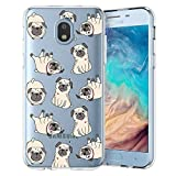 Unov Galaxy J7 2018 Case Clear with Design Slim Protective Soft TPU Bumper Embossed Pattern Cover for Galaxy J7 Crown J7 Refine J7 Star J7 V J7V 2nd Gen J7 Aero J737V(Pug Dog)