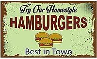 予告標識ハンバーガーをお試しください最高のタウン警告標識危険プライベートプロパティサイン屋外の事前掘削用安全金属標識