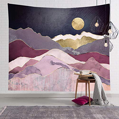 BBAGG Tapiz Rosa nórdico Tapiz Abstracto Montaña Puesta de Sol Mapa del Mundo Mandala Alfombra de Pared Decoración Hogar Manta de Yoga Colchón-CGT026-10_150 * 200