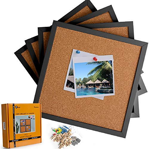 Board2by Cork Bulletin Boards 12 X 12, Black Framed Cork Tiles, Small Corkboards for Walls, Squares Pin Board 1/2 Inch Thick, Mini Wall Bulleting Board with 16 Push Pin Wood Clips, 4 Pack