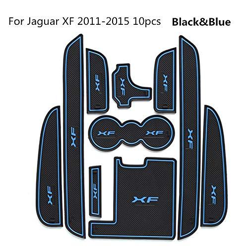LeQi 10PCS Car Door Groove mat for Jaguar XF 2011-2015 Accessories,3D Rubber Car Mat Gate Slot pad Non-Slip mats Car Decoration