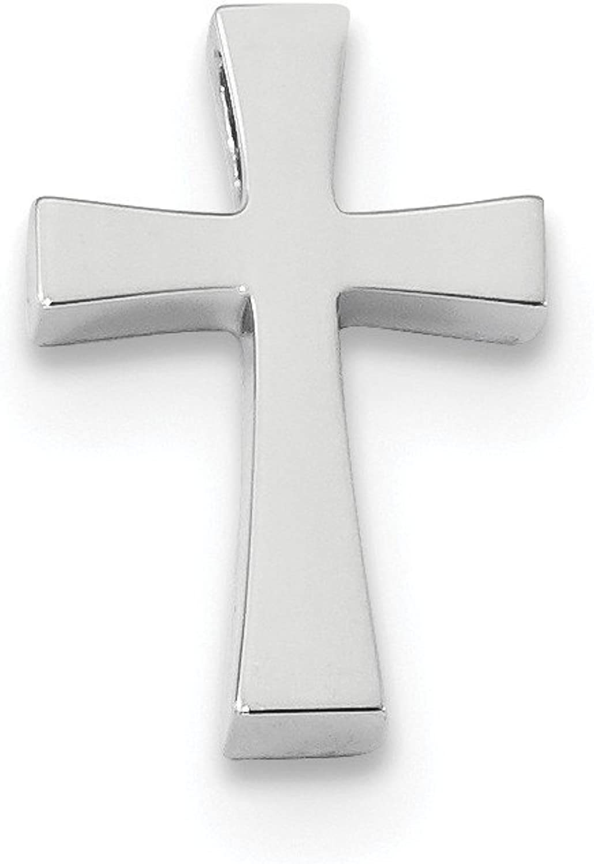 14k White gold Polished Cross Chain Slide