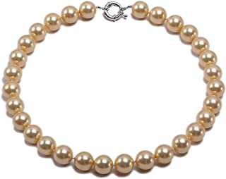 JYX Pearl 14mm Genuine Golden South Sea Shell Pearl Round Beads Necklace 18''