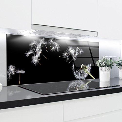 Crédence en verre trempé résistant à la chaleur - 125 x 50 cm - 4 mm d'épaisseur - Idéal derrière les plaques à gaz, vitrocéramique et induction - Fac