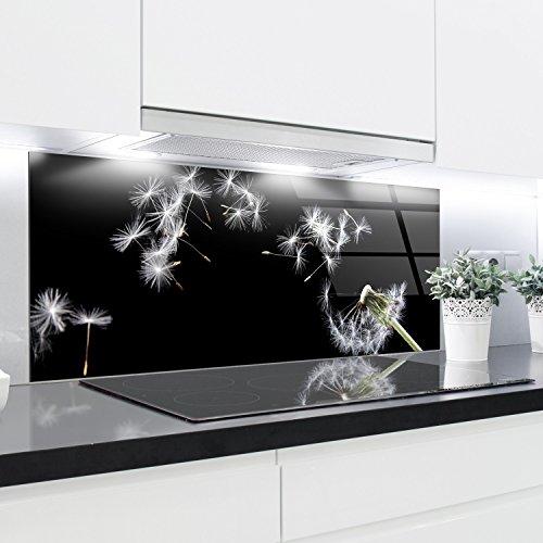 Crédence en verre trempé résistant à la chaleur - 125 x 50 cm - 4 mm d'épaisseur - Idéal derrière les plaques à gaz, vitrocéramique et induction - Facile à nettoyer et à accrocher