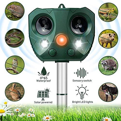 Katzenschreck Ultraschall Solar, Wasserdichte Utraschall Tiervertreiber mit Batteriebetrieben und Blitz 5 Modus Einstellbar Ultraschall Abwehr Tierabwehr für Katzen, Hunde, Schädlinge, Rotwild