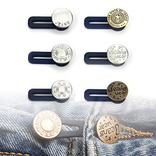 Lohas Select, set di 6 estensioni elastiche per pantaloni in vita, con elastici e bottoni