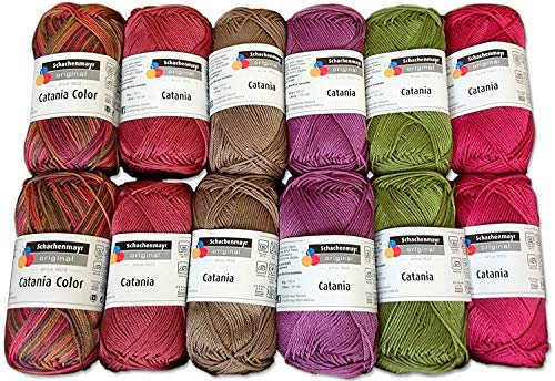 Schachenmayr 10xCatania und 2X Catania Color Set India 12x50 Gr, 100% Baumwolle