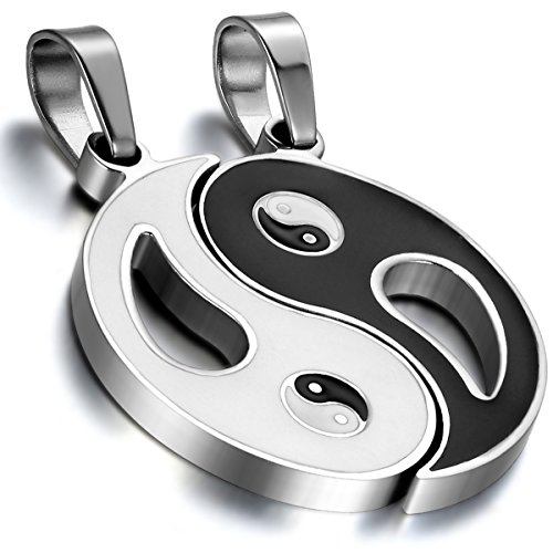 Cupimatch 2-Piece Stainless Steel Yin Yang Puzzle Matching Pendant Couple Necklace Valentine Gift with 18'& 22' Chain, Silver Black (Couple Necklace)