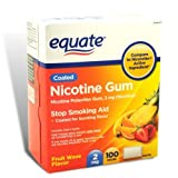 Equate - Nicotine Gum 2 mg, Coated, Fruit Flavor, 100 Pieces