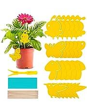 24 stuks gele stickers, vliegenvanger, gele borden, rouwmuggen bestrijden, kamerplanten, potplanten, gele stickers, waterdichte gele val, muggenval, lijmval voor fruitvliegen, muggen, bladluizen, nematoden