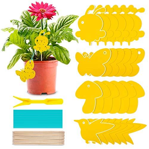 24Pcs Gelbsticker Fliegenfänger, Gelbtafeln Trauermücken Bekämpfen Zimmerpflanzen Topfpflanzen Gelbsticker, Wasserdicht Gelbfalle Mückenfalle Klebefalle für Fruchtfliegen Mücken Blattläuse Nematoden