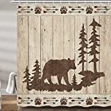 Bear Shower Curtains for Bathroom, Wild Animals Rustic Cabin Forest Bath Curtain Set, Bear Paw Print Wooden Board Fabric Bathroom Accessories Restroom Decor 12 Hooks Included (69' W X 72' H)