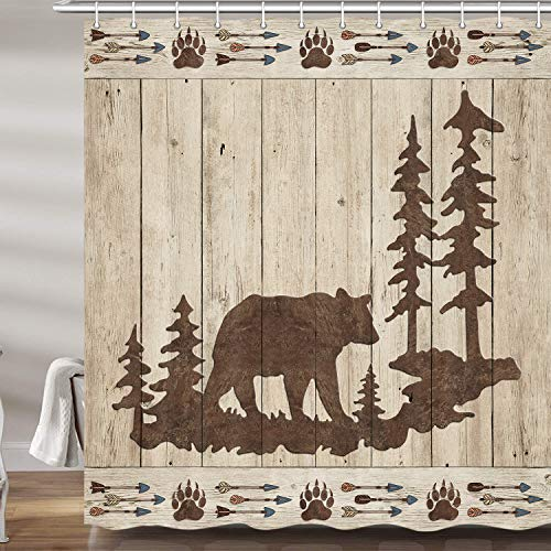 "Bear Shower Curtains for Bathroom, Wild Animals Rustic Cabin Forest Bath Curtain Set, Bear Paw Print Wooden Board Fabric Bathroom Accessories Restroom Decor 12 Hooks Included (69"" W X 72"" H)"