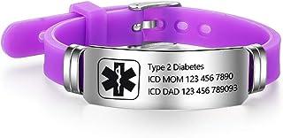 Personalized Bracelet Silicone Medical Bracelets Adjustable Sport Emergency ID Bracelets Free Engraving 9 Inches Waterproo...