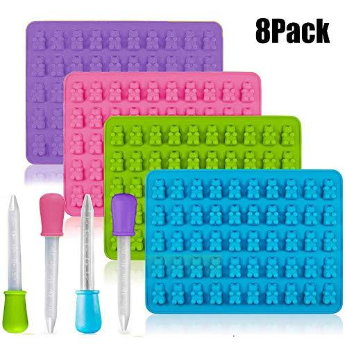 SDFY 4 Piezas de Moldes de Chocolate Gummy, Silicone Gummy Bear Candy Maker, Mini Ice Tray Silicone Molds (Morado, Rosa, Verde, Azul)