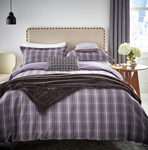 Peacock Blue Hotel Valloire Duvet Cover, Brushed Cotton, Amethyst, Double
