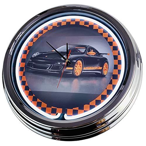 Neon Clock Porsche GT3 WallClock Deko-Clock LeuchtClock USA 50's Style Retro NeonClock Dining Room Kitchen Living Room Office (White)