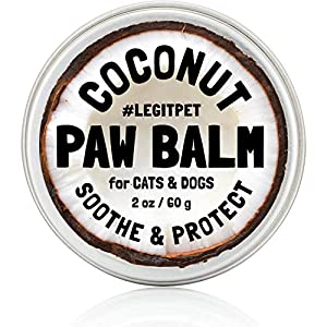 LEGITPET Dog Paw Balm Wax Soother & Moisturizer Cream with Natural Food-Grade Coconut Oil, Organic Shea Butter & Beeswax – 2 oz – Healing Protector for Cracked Dog Paws, Snout & Elbows