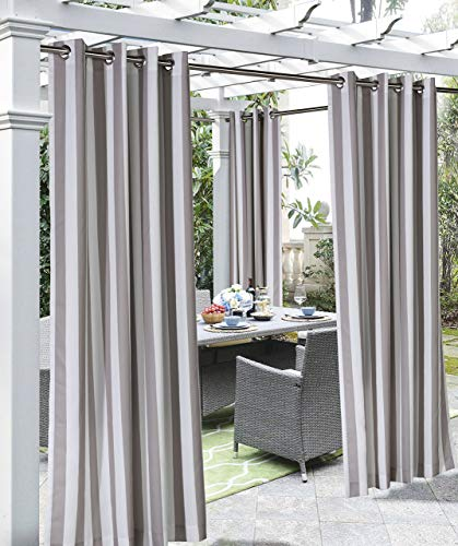 "108""x50"" Coastal Printed Stripe Grommet Top Indoor/Outdoor Blackout Curtain Panel Taupe - Outdoor Décor"