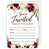 Andaz Press Fall Autumn Burgundy Maroon Floral Flowers Party, 5x7-inch Fill in The Blank Invitations with Envelopes, You're Invited, Join Us to Celebrate, 24-Pack, Includes Cards & Envelopes